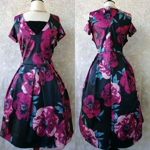 Charlotte Russe Black and Deep Pink Floral Dress